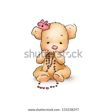 cute baby bear with pink beads - stock photo