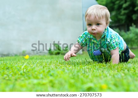 Cute baby boy crawling in the grass near house - stock photo