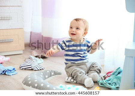 Cute baby boy in room - stock photo