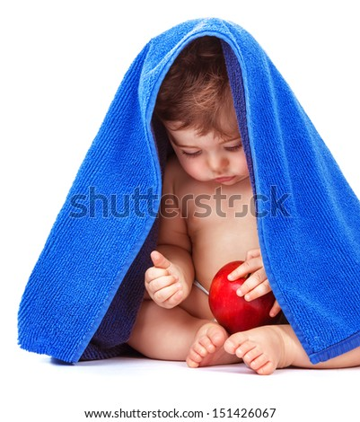 Cute baby boy with apple fruit and wrapped in blue towel isolated on white background, healthy eating, baby care, happy childhood concept  - stock photo