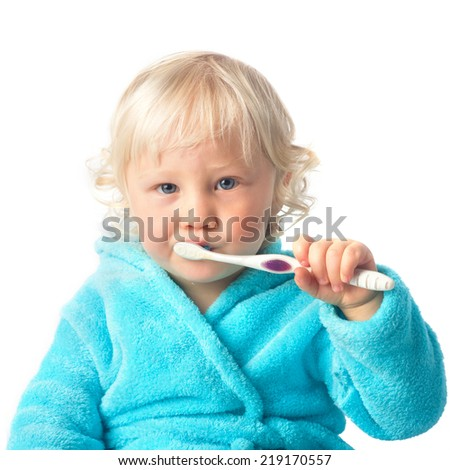 Cute baby boy with tooth brush - stock photo