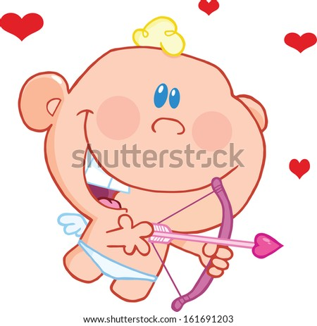 Cute Baby Cupid Flying With Bow And Arrow. Raster Illustration Isolated on white - stock photo