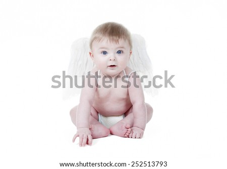 Cute baby cupid with angel wings in front of a white background - stock photo