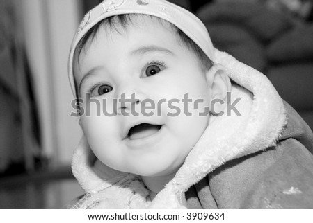 cute baby face smiling - stock photo