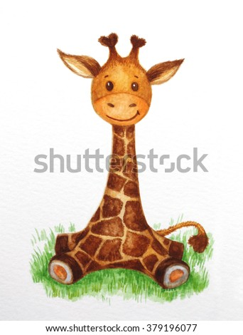 Cute baby  giraffe sitting on grass, watercolor. - stock photo