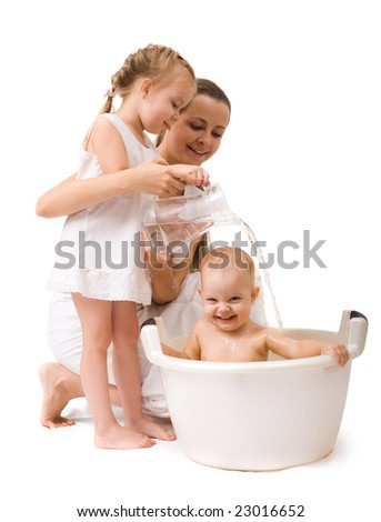 Cute baby girl having bath. Isolated over white - stock photo