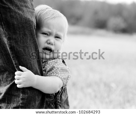 cute baby girl is crying - stock photo