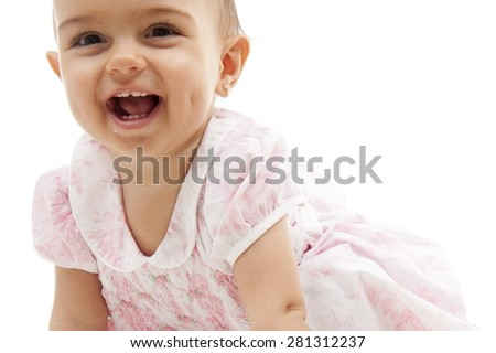 Cute baby girl smilling . - stock photo