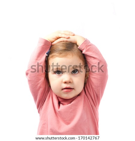Cute baby girl surprised over white background  - stock photo
