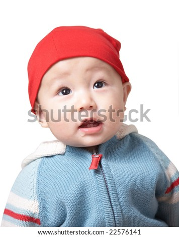 cute baby in a red hat. - stock photo