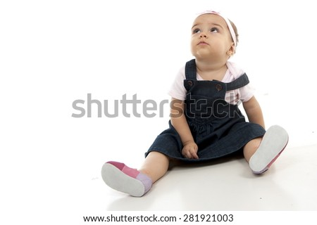 Cute baby looking at up - stock photo
