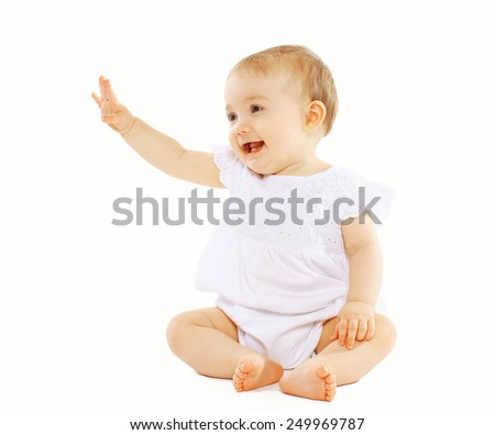 Cute baby on a white background - stock photo