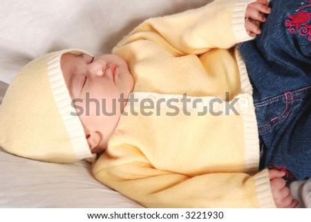 cute baby sleeping - stock photo