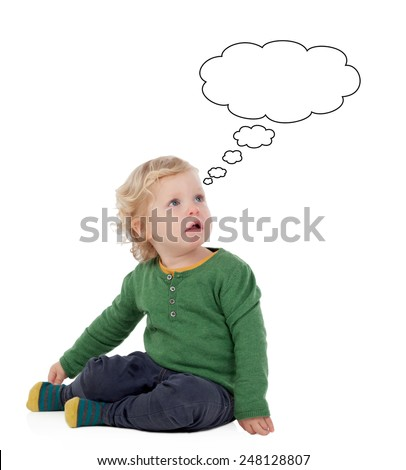 Cute baby thinking isolated on a white background - stock photo
