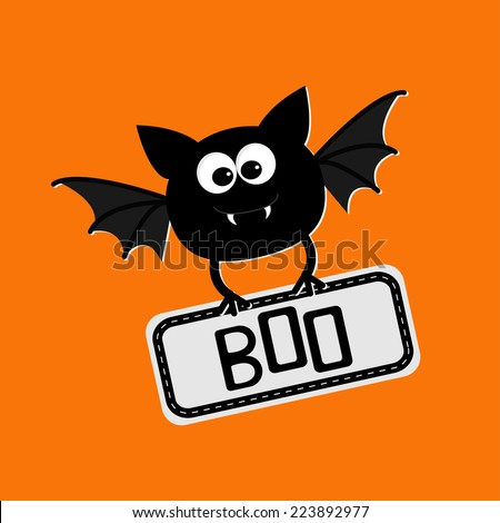 Cute bat with plate boo. Happy Halloween card. Flat design.  - stock photo