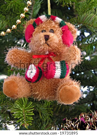 Cute bear on christmas tree - stock photo
