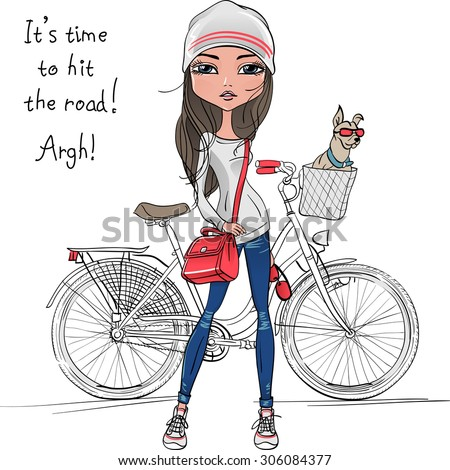Cute beautiful fashionable hipster girl with bike and dog - stock photo