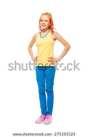 Cute beautiful girl full height portrait isolated - stock photo