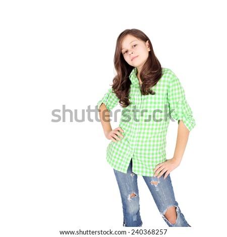 cute beautiful teen girl in the checkered shirt - stock photo