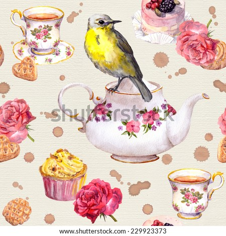 Cute bird on tea pot. Tea cup, cakes, rose flowers. Repeating teatime pattern. Watercolor - stock photo