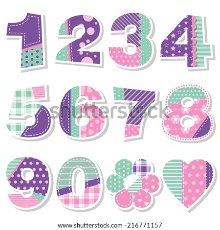 cute birthday numbers collection illustration - stock photo