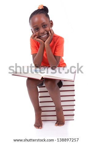 Cute black african american little girl reading a book, isolated on white background - African people - Children - stock photo