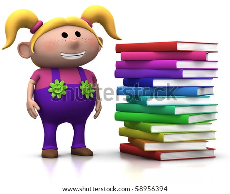 cute blond girl standing beside a big stack of books - 3d rendering/illustration - stock photo