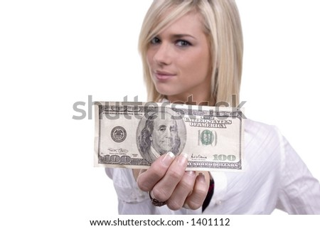 Cute blond girl/woman with a $100 bill - perfect for savings, income, bank, etc. - stock photo