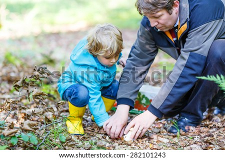 Cute blond kid boy and his father searching mushrooms in autumn forest. Family spending time together. - stock photo