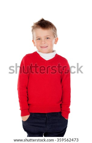 Cute blond kid with red jersey isolated on a white background - stock photo