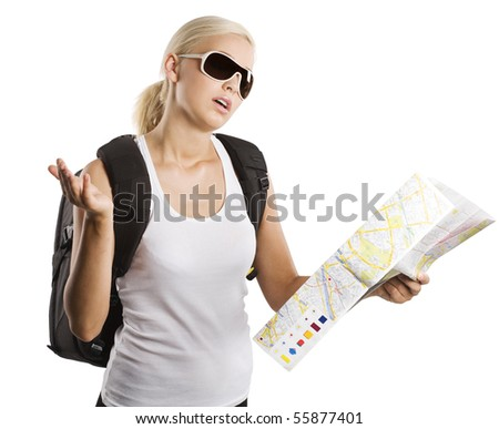 cute blond woman looking at a map and chatting by herself . isolated on white - stock photo