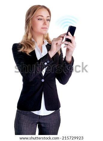 Cute blond woman try to connecting with someone using new smart phone, isolated on white background, successful business people concept  - stock photo