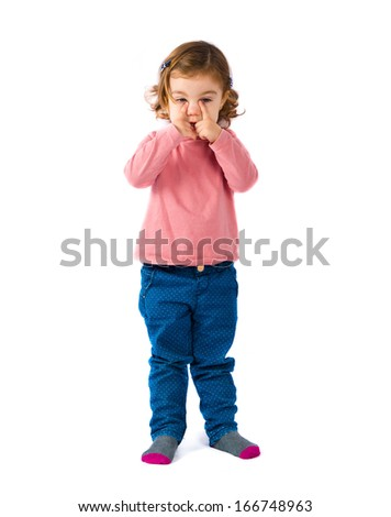 Cute blonde baby crying over white background - stock photo