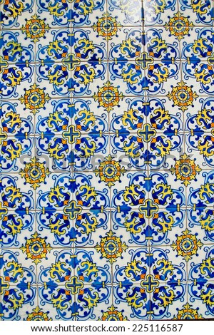 Cute blue and yellow abstract arabian  tiled pattern background  - stock photo