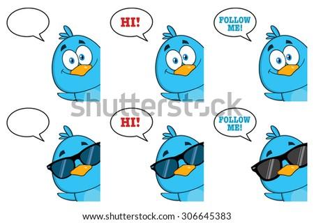 Cute Blue Bird Cartoon Character 10. Raster Collection Set - stock photo
