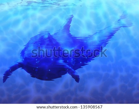 Cute blue 3d dolphin swimming underwater background. - stock photo