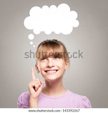 Cute blue-eyed girl having a brilliant idea. - stock photo