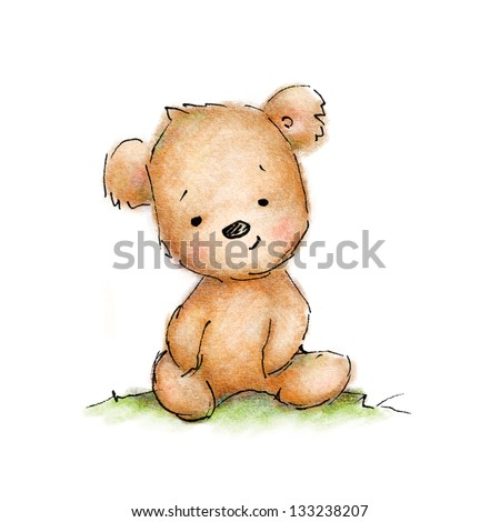 Cute blue teddy bear on white background - stock photo