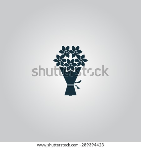 Cute bouquet of flowers. Flat web icon or sign isolated on grey background. Collection modern trend concept design style illustration symbol - stock photo