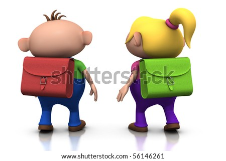 cute boy and girl with schoolbags on their back walking away - back to school concept - 3d rendering/illustration - stock photo
