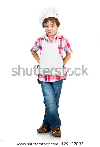 Cute boy dressed as a cook isolated on a white background - stock photo