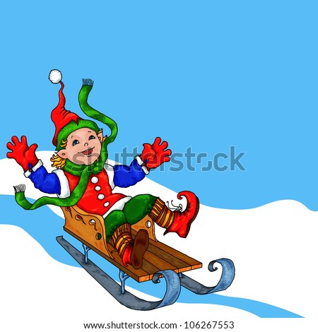 Cute boy (elf) riding a sled in the snow - stock photo