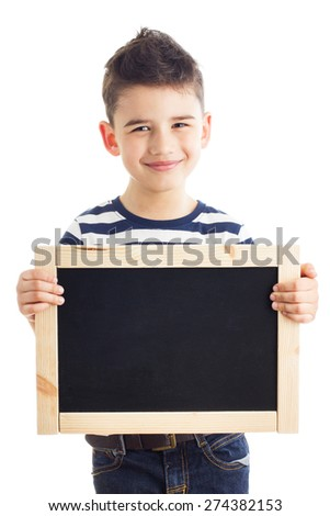 Cute boy holding chalkboard with empty space for your advertising text - stock photo