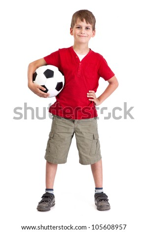 Cute boy is holding a football ball made of genuine leather  isolated on a white background. Soccer ball - stock photo