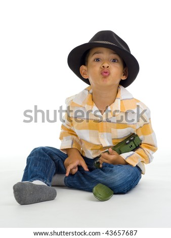 cute boy kissing with toy in hand, isolated on white - stock photo