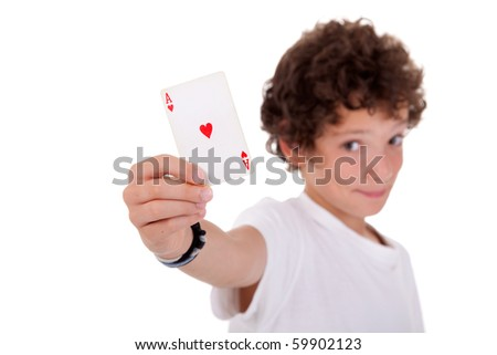 cute boy showing an ace of hearts, isolated on white, studio shot - stock photo