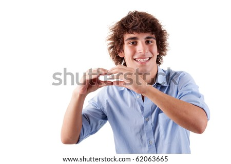 cute boy, smiling and putting hands like if was eating an hamburger, isolated on white, studio shot - stock photo