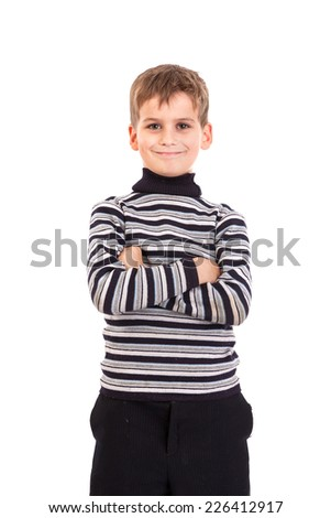 Cute boy smilling isolated on a white background - stock photo