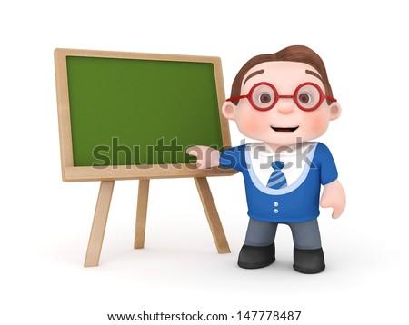 cute boy with blackboard-3d rendered - stock photo
