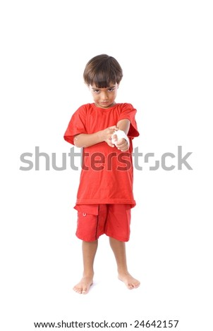 Cute Boy with his hand hurt . - stock photo